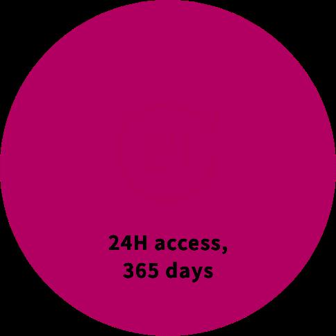 24H access, 365 days